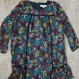 NWOT LOFT long sleeve floral shift mini dress - S